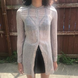Wilfred | 100% silk sheer blouse w/ snake pattern